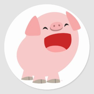 Cute Cartoon Singing Pig Sticker sticker