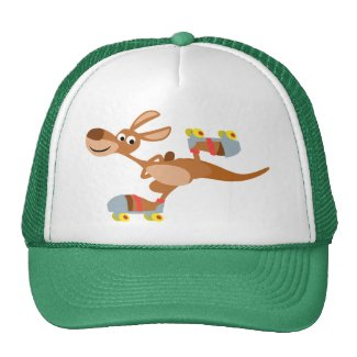 Cute Cartoon Skating Kangaroo Hat hat