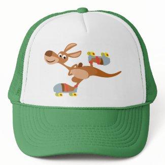 Cute Cartoon Skating Kangaroo Hat hat