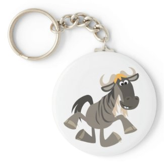 Cute Cartoon Tap Dancing Wildebeest Keychain zazzle_keychain