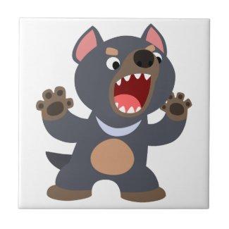 Cute Cartoon Tasmanian Devil Tile