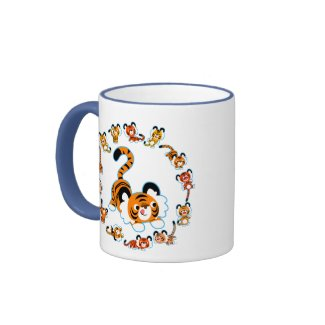 Cute Cartoon Tigers Mandala (Blue) Mug mug