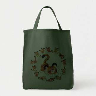 Cute Cartoon Tigers Mandala (green) Bag bag