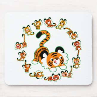 Cute Cartoon Tigers Mandala (green) Mousepad mousepad