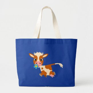Cute Cartoon Trotting Cow Bag bag