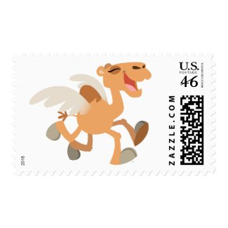 Cute Cartoon Winged-Camel Postage Stamp stamp