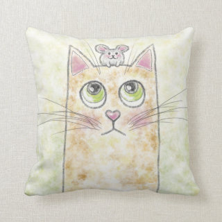 Cute Cat and Mouse Illustration Throw Pillow