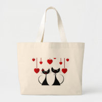 Cute Cat Couple Large Tote Bag
