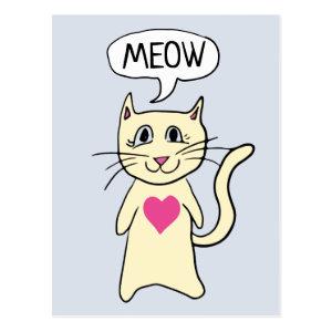 Cute Cat Meow I Love You Postcard