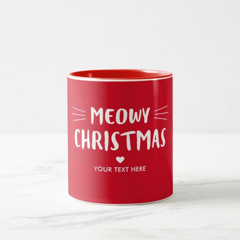 Christmas Mugs Gift Ideas 6- Meowy Christmas Personalized Christmas Mug