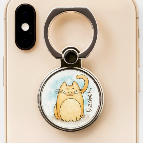 Cute Cat Watercolor Personalize Phone Ring Stand