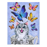 Cute Cat with Butterflies, Tea Cup postcard