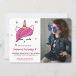 ❤️ Fun Unicorn Cat Custom Photo Birthday Party Invitation