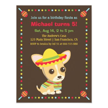 Cute Chihuahua Mexican Fiesta Kids Birthday Party Card