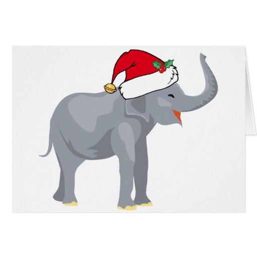Cute Christmas Elephant Santa Card Zazzle