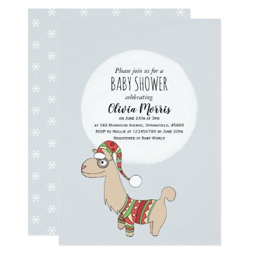 Cute Christmas Llama and Name Festive Baby Shower Invitation