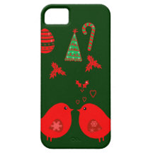 Cute Christmas Love birds iPhone 5 cases