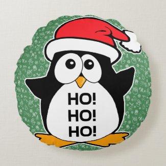 Cute Christmas Penguin Ho Ho Ho Round Pillow