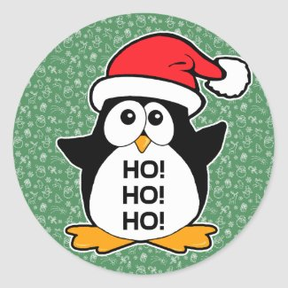 Cute Christmas Penguin Ho Ho Ho Round Stickers