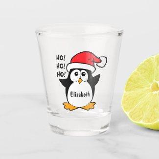 Cute Christmas Penguin Personalize Shot Glass