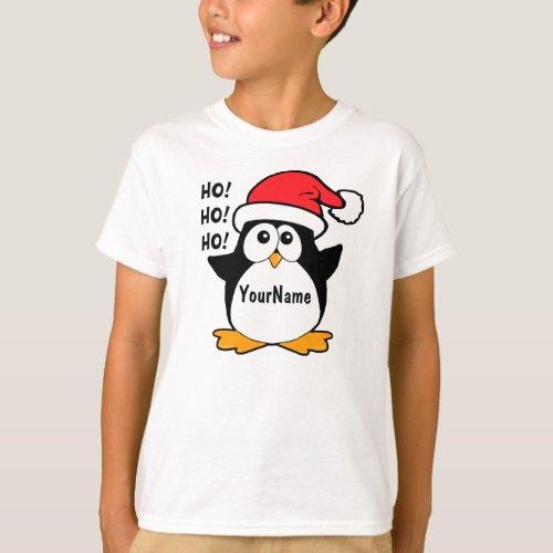 Cute Christmas Penguin Personalize T-Shirt