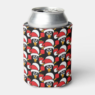 Cute Christmas Penguins Pattern Red Can Cooler