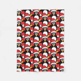 Cute Christmas Penguins Pattern Red Fleece Blanket