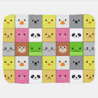 Cute Colorful Animal Face Squares Pattern Design Baby Blanket