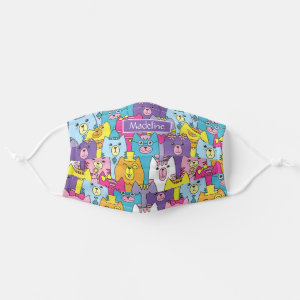 Cute Colorful Cartoon Cats Pattern Personalized Cloth Face Mask