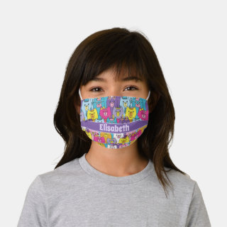 Cute Colorful Cartoon Cats Personalized Kids' Cloth Face Mask