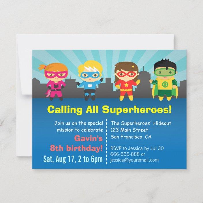 cute colourful superhero birthday party invitation zazzle com