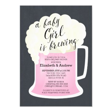 Cute Couples Girls Baby Shower Baby Brewing Invitation