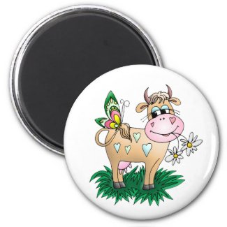 Cute Cow & Butterfly Magnet