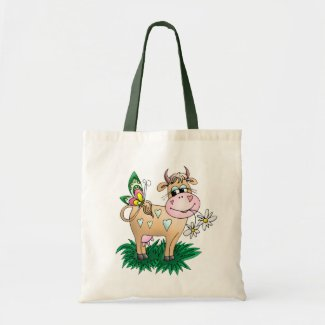 Cute Cow & Butterfly Tote Bag