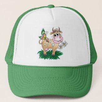 Cute Cow & Butterfly Trucker Hat