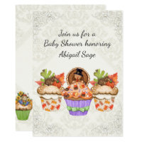 Cute Cupcakes Thanksgiving Fall Baby Shower Invite