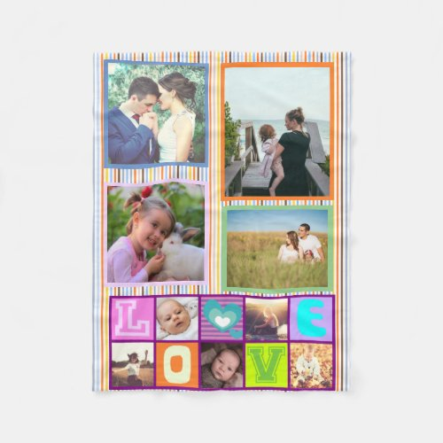 Cute custom family photo collage memories fleece blanket