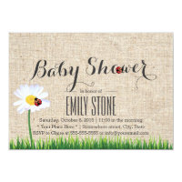 Cute Daisy & Ladybugs Burlap Baby Shower Card