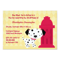 Cute dalmation doggie birthday party invitation