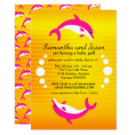Cute Dancing Blue Dolphins in the Sun Baby Shower Invitation