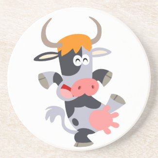 Cute Dancing Cartoon Cow Coaster