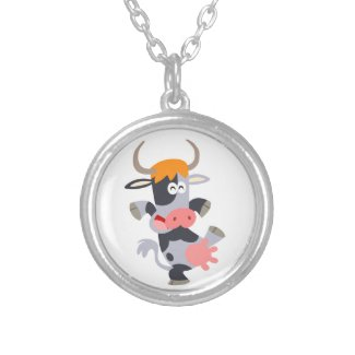 Cute Dancing Cartoon Cow Necklace