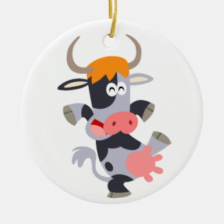 Cute Dancing Cartoon Cow Ornament