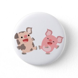 Cute Dancing Cartoon Pigs Button Badge button