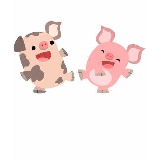 Cute Dancing Cartoon Pigs Children T-Shirt shirt