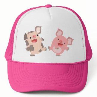 Cute Dancing Cartoon Pigs Hat hat