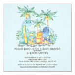 ❤️ Cute Blue Dinosaur Boys Baby Shower Invitation