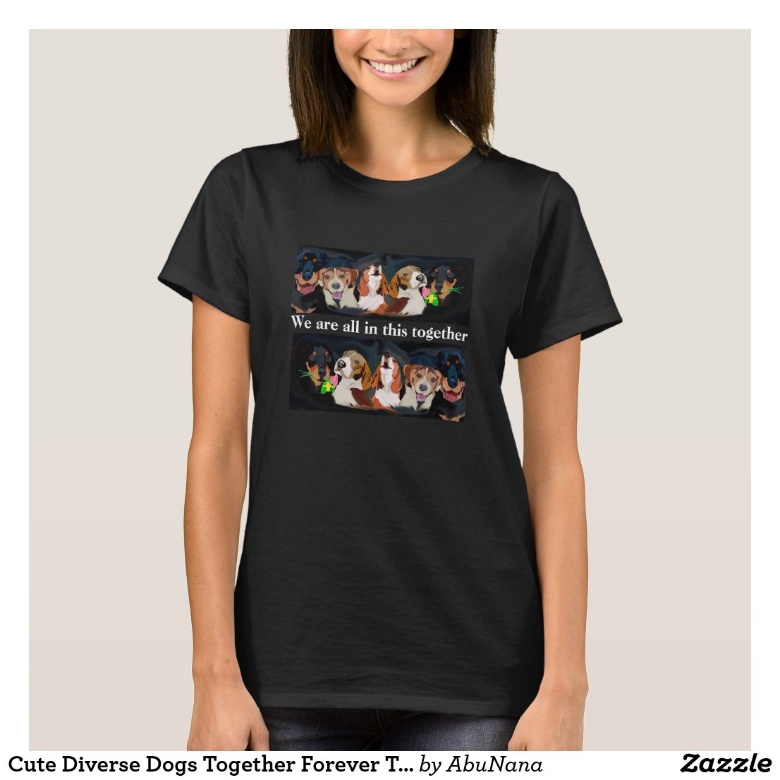 Cute Diverse Dogs Together Forever T-Shirt