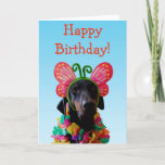❤️ Cute Doberman dog butterfly birthday Card