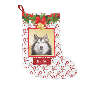 Cute Dog Photo Christmas Stocking Custom Name